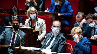 Le banc des ministres à l'Assemblée nationale, le 28 septembre 2021. (XOSE BOUZAS / HANS LUCAS / AFP)