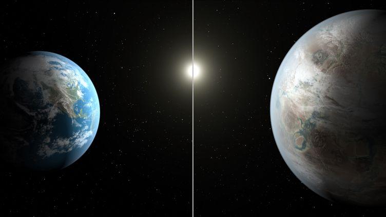 Modélisation informatique deKepler-452b (à droite), exoplanète dont la découverte a été rendue publique par la Nasa le 23 juillet 2015. (T. PYLE / NASA / AFP)