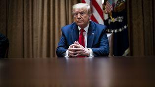 Donald Trump lors d'une rencontre avec ses partisans afro-américains à la Maison Blanche, à Washington (Etats-Unis), le 10 juin 2020. (POOL / GETTY IMAGES NORTH AMERICA / AFP)