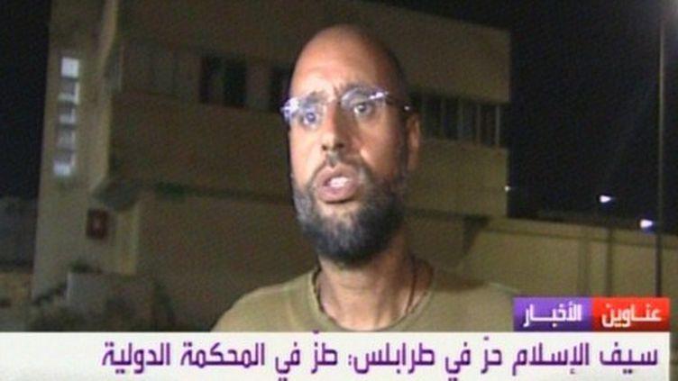 Saïf al Islam Kadhafi (capture d'écran al-Arabya), le 23 août 2011. (AL-ARABIYA / AFP)