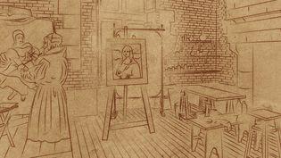 """Léonard de Vinci fignole sa """"sainte Anne"""" dans son atelier du Clos Lucé (Indre-et-Loire), entre 1516 et 1519, où se trouvait également """"La Joconde"""". (CESAR HADDAD / FRANCEINFO)"""