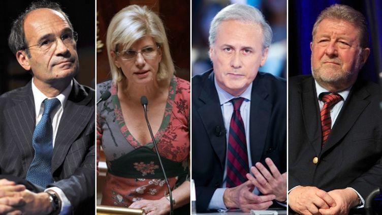Eric Woerth(UMP) dans l'Oise, Sylvie Andrieux(PS) à Marseille, Georges Tron(UMP) dans l'Essonne, Jean-Pierre Kucheida(PS)dans le Pas-de-Calais : quatre candidats aux législatives malgré leurs ennuis judiciaires. (AFP / MAXPPP / FTVI)