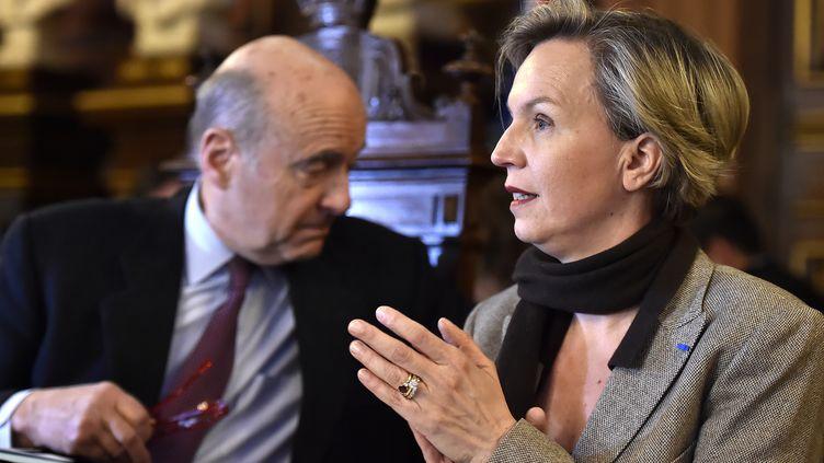 Virginie Calmels, ici avec Alain Juppé, le 26 février 2018. (GEORGES GOBET / AFP)