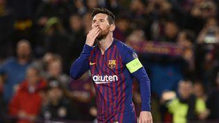 L'attaquant du Barça Lionel Messi lors du match Barcelone-Lyon, en 8e de finale de la Ligue des champions, le 13 mars 2019 au Camp Nou. (JOSEP LAGO / AFP)