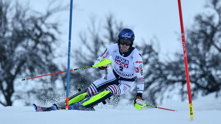 Clément Noël lors du 2e slalom de Chamonix, janvier 2021 (JEFF PACHOUD / AFP)