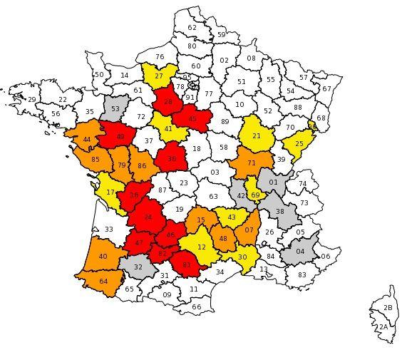 (36 départements sont touchés par la sécheresse © Capture d'écran du site gouvernemental Propluvia)
