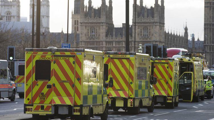 Des véhicules de secours stationnentprès du Parlementaprès l'attaquequi a fait au moins quatre morts et 40 blessés, à Londres (Royaume-Uni), le 22 mars 2017. (AFP)