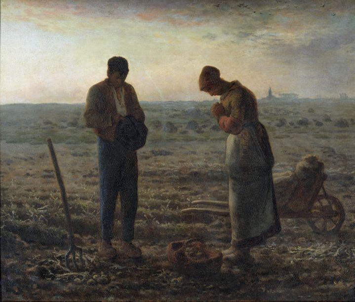 """""""L'Angelus"""" Paysans priant dans un champs. Peinture de Jean Francois Millet (1814-1875) 1857 Dim. 0,55 x 0,66 m Paris, musee d'Orsay ©Photo Josse/Leemage"""