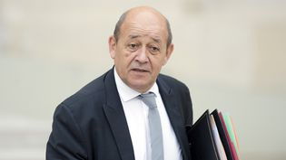 Jean-Yves Le Drian, dans la cour de l'Elysée, à Paris, le 14 octobre 2015. (ALAIN JOCARD / AFP)