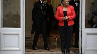 Christiane Taubira lors de son départ du ministère de la Justice, le 27 janvier 2016 à Paris. (KENZO TRIBOUILLARD / AFP)