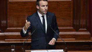 Emmanuel Macron a tenu son premier discours devant les parlementaires réunis en Congrès à Versailles, lundi 3 juillet. (ERIC FEFERBERG / POOL)