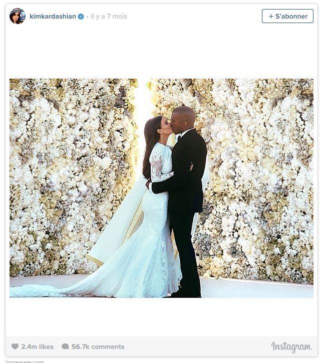 Capture d'écran de la photo de mariage de Kim Kardashian, qui a récolté 2,4 millions de likes sur Instagram, un record dans l'histoire du réseau social. (KIM KARDASHIAN / INSTAGRAM)