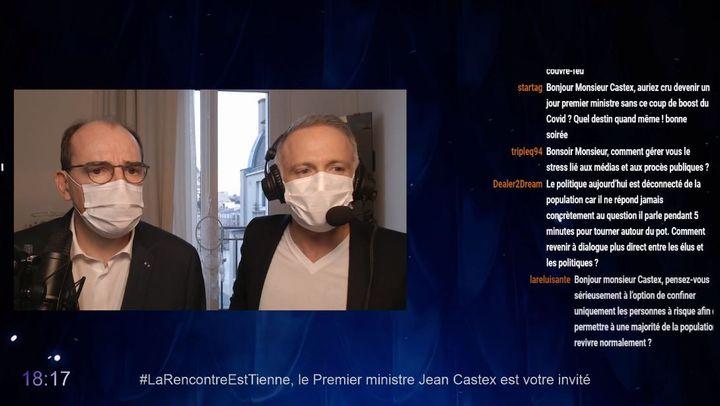 Capture écran du tchat avec Samuel Etienne et Jean Castex sur Twitch. (Twitch.)
