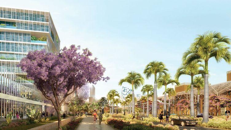 Ville nouvelle de Yennenga: perspective de l'avenue des Institutions. (Agence Architecture-Studio pour CGE immobilier)