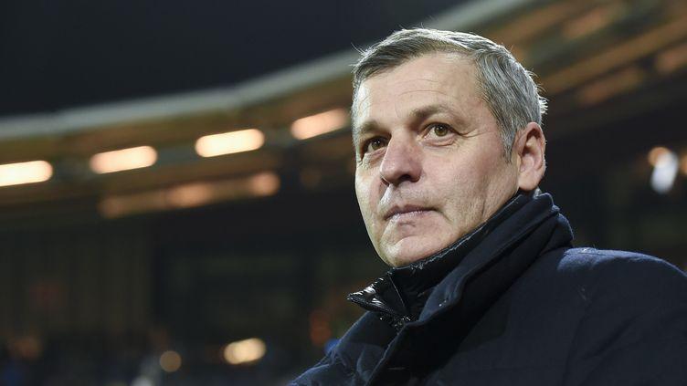 L'entraîneur de l'OL, Bruno Génésio (JOHN THYS / AFP)
