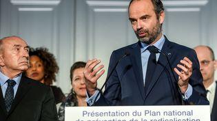 Edouard Philippe présente le plan du gouvernement pour prévenir la radicalisation, le 23 février 2018 à Lille (Nord). (PHILIPPE HUGUEN / AFP)
