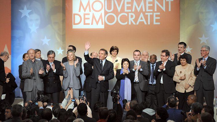 Le lancement de la campagne européenne du MoDem, en février 2009. (BERTRAND LANGLOIS / AFP)