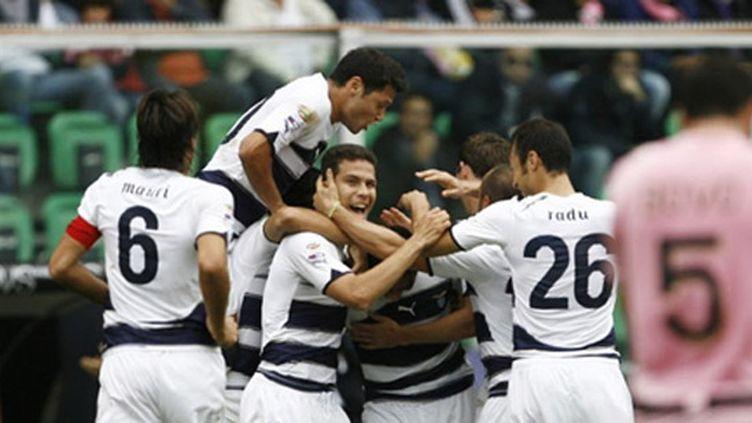 La joie des joueurs de la Lazio de Rome