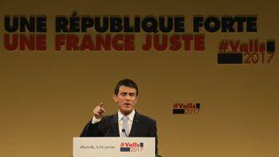 Manuel Valls en meeting à Alfortville (Val-de-Marne), jeudi 26 janvier 2017. (GEOFFROY VAN DER HASSELT / AFP)