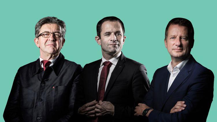 A gauche de l'échiquier politique, Jean-Luc Mélenchon, Benoît Hamon et Yannick Jadot sont tous les trois candidats à l'élection présidentielle. (AFP / FRANCEINFO)