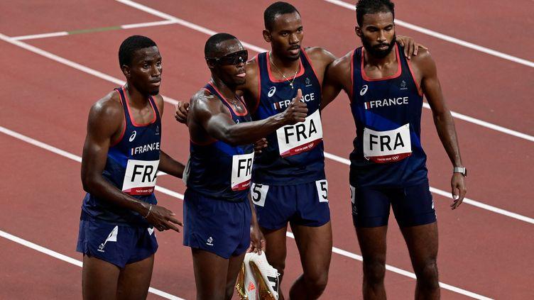 Le relais 4x400 m français aux Jeux olympiques de Tokyo, le 6 août 2021. (JAVIER SORIANO / AFP)