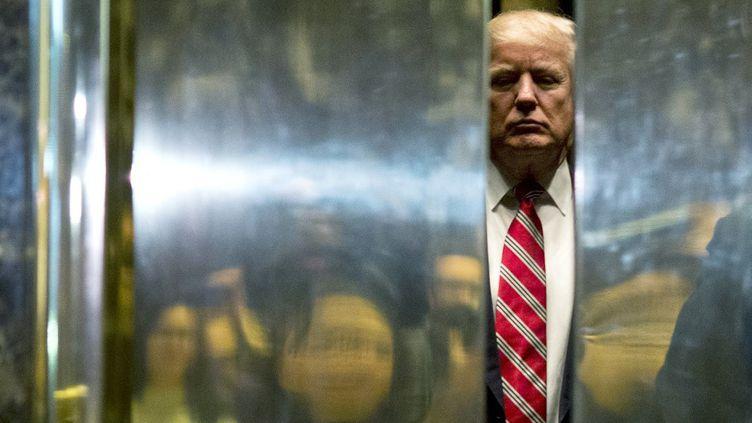 Le président américain, Donald Trump, le 16 janvier 2017 à New York (Etats-Unis). (DOMINICK REUTER / AFP)