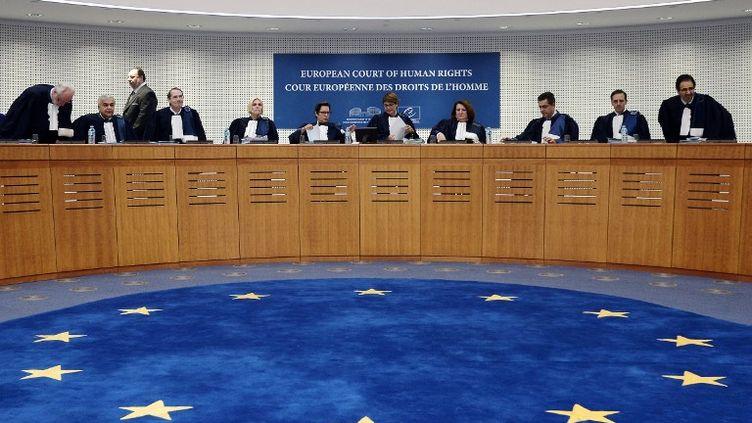 Les juges de la Cour européenne des droits de l'homme, le 14 octobre 2014, à Strasbourg (Bas-Rhin). (FREDERICK FLORIN / AFP)