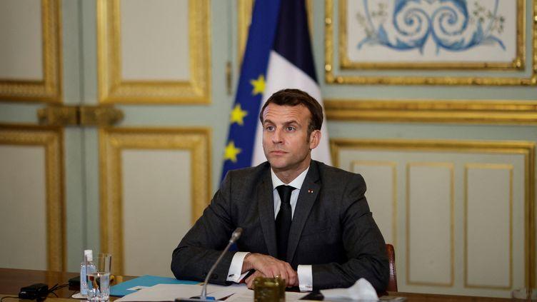 Emmanuel Macron, à l'Elysée, le 3 mars 2021. (YOAN VALAT / POOL)