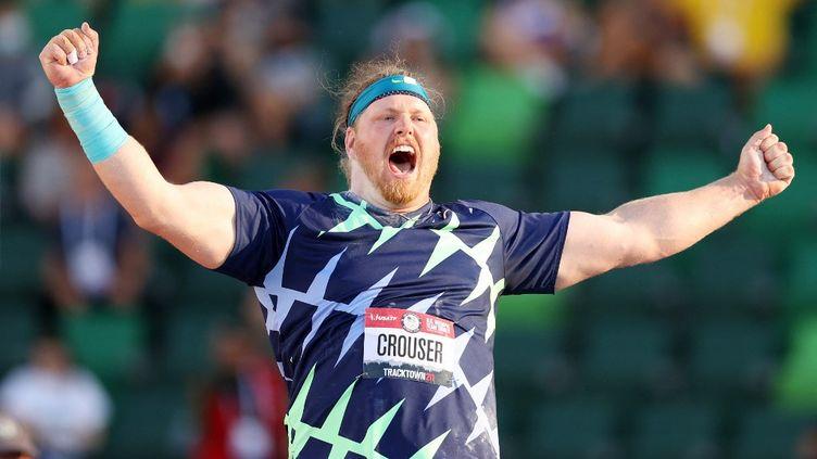 L'Américain Ryan Crouser a battu le record du monde de lancer de poids, le 18 juin 2021, àEugene (États-Unis). (PATRICK SMITH / GETTY IMAGES NORTH AMERICA via AFP)