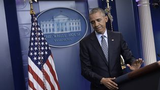 Barack Obama lors de sa dernière conférence de presse à la Maison Blanche, le 18 janvier 2017. (BRENDAN SMIALOWSKI / AFP)