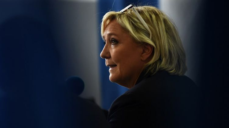 Marine Le Pen répond aux questions des journalistes à Carpentras, dans le Vaucluse, le 8 octobre 2017.  (ANNE-CHRISTINE POUJOULAT / AFP)