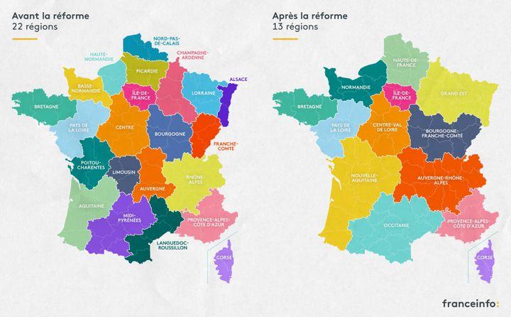 Carte des régions de France métropolitaine avant et après la réforme territoriale entrée en vigueur en janvier 2016. (ELLEN LOZON / FRANCEINFO)