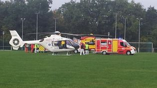 Des hélicoptères de secours à Puisseguin (Gironde), le 23 octobre 2015. (FRANCE 3 AQUITAINE)