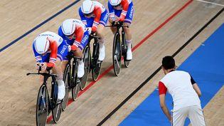 L'équipe de France féminine de poursuite s'est qualifiée pour le premier tour, au vélodrome d'Izu, au Japon, le 2 août 2021. (GREG BAKER / AFP)