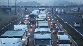 Opération escargot de routiers en grève, sur l'A1, le 22 janvier 2015. (  MAXPPP)