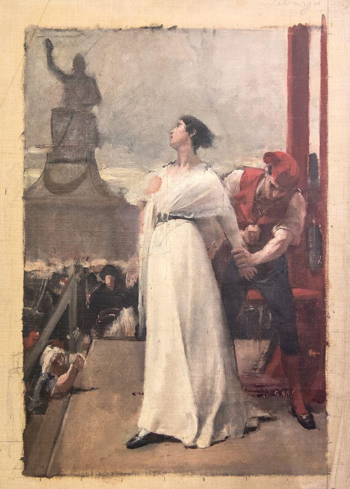 Ecole française - Madame Roland à l'échafaud - Huile sur toile, fin du XIXe siècle  (Ville de Versailles, musée Lambinet)