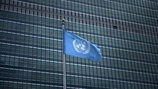 Drapeau de l'ONU devant le siège de l'organisation à New York, le 19 septembre 2017. (BRENDAN SMIALOWSKI / AFP)