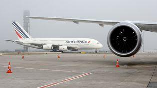 Un avion de la compagnie aérienne Air France, le 2 décembre 2016, sur le tarmac de l'aéroport de Roissy-Charles-de-Gaulle. (ERIC PIERMONT / AFP)