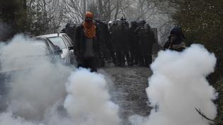 Des manifestants lors de l'évacuation de la ZAD de Notre-Dame-des-Landes (Loire-Atlantique), le 9 avril 2018. (LOIC VENANCE / AFP)