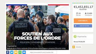 Capture d'écran, prise le 14janvier2019, de la page de présentation de la cagnotte lancée par le président LR de larégion Paca, Renaud Muselier, en soutien aux forces de l'ordre. (LEETCHI)