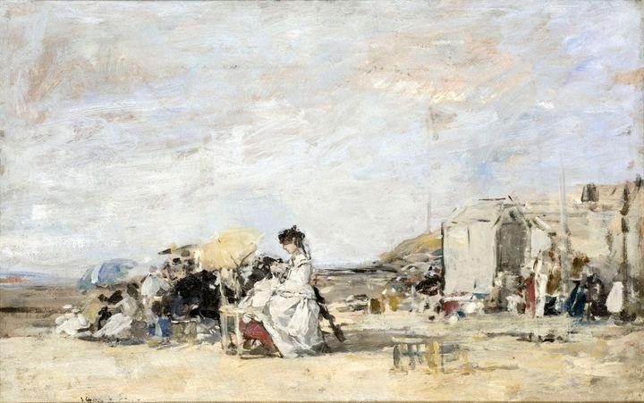 """Eugène Boudin, """"Dame en blanc sur la plage de Trouville"""", 1869, Le Havre, musée d'art moderne André Malraux, don Louis Boudin, 1900 (© MuMa Le Havre / Florian Kleinefenn)"""