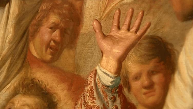 """""""La lapidation de Saint-Etienne"""" contient le premier autoportrait de Rembrandt (en haut à gauche)  (France 3 / Culturebox)"""