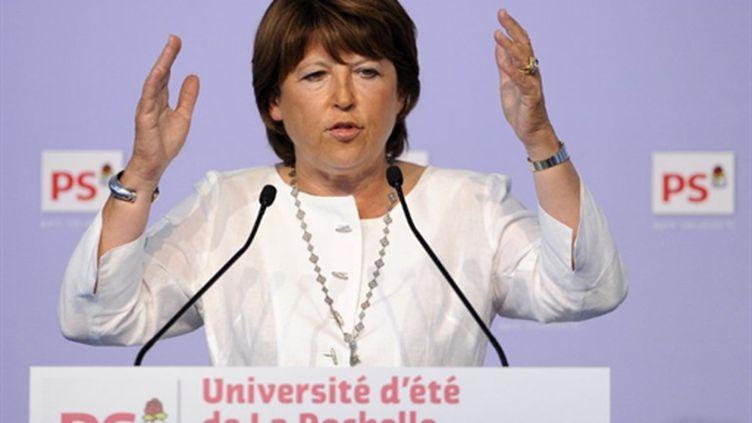 Martine Aubry durant son discours de clôture à l'université d'été du PS à La Rochelle (AFP PHOTO / BERTRAND GUAY)