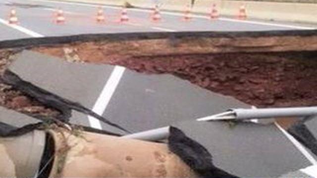 L'autoroute A75, lourdement endommagée par les intempéries