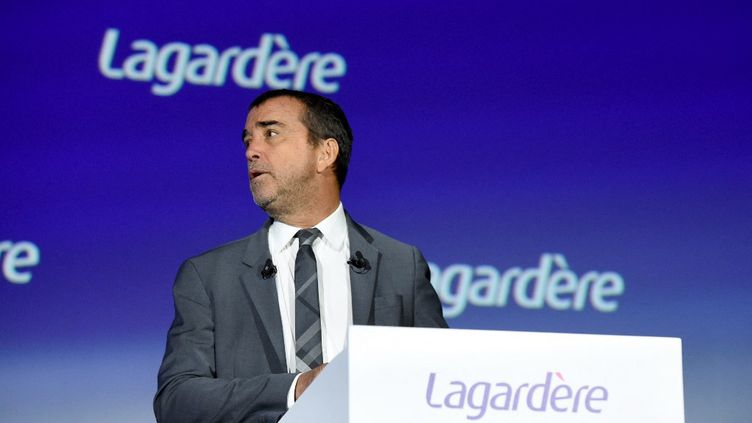 Arnaud Lagardère, le 10 mai 2019 à Paris. (ERIC PIERMONT / AFP)