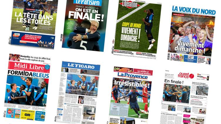 Les Bleus font la une de la presse française,mercredi 11 juillet 2018. (FRANCEINFO)