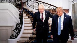 Le Premier ministre britannique Boris Johnson et le président américian Donald Trump, le 25 août 2019 à Biarritz lors du sommet du G7. (ERIN SCHAFF / AFP)