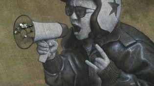 Rock The Grass, la fresque géante de Saype en hommage aux Eurockéennes avec Last Train (dans le mégaphone !). (Saype / lesabeprod / Valentin Flauraud)