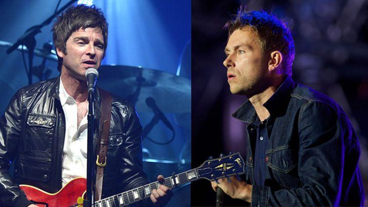 Noel Gallagher et Damon Albarn.  (NOTIMEX/FOTO/ESPECIAL/COR/ACE/AFP et Andrew Cowie / AFP)