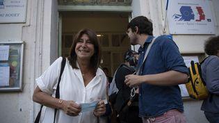 Michèle Rubirola,candidate du Printemps marseillais, une liste d'union de la gauche, à sa sortie d'un bureau de vote à Marseille, pour le second tour des municipales, le 28 juin 2020. (CHRISTOPHE SIMON / AFP)